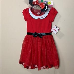 Mini Mouse Red & Sparkly Dress & headband (ears)